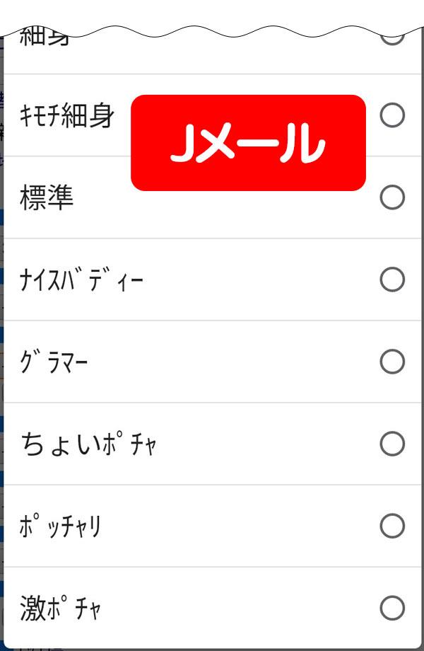 Jメール体形検索